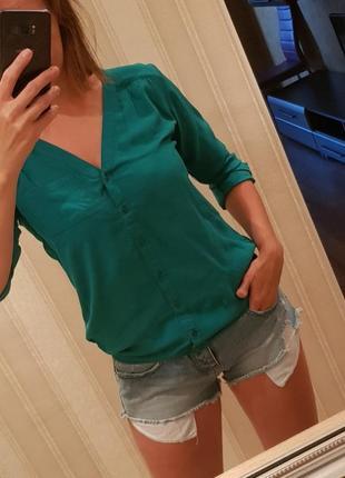 Рубашка зелёная 100% вискоза s