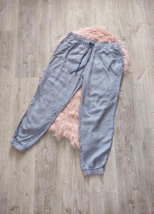 Льняные брюки штаны лен джоггеры на резинке в полоску