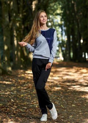 Красивый свитшот серый синий