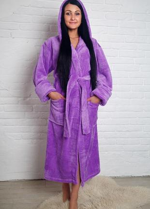 Женский махровый халат длинный фиолет s-xl