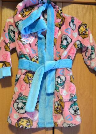 Теплый халат на девочку 1,5-2 года, скай, щенячий патруль