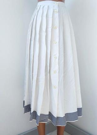 Белая натуральная юбка крупное плиссе