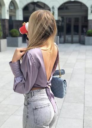 Рубашка блузка шелковая открытая спина zara