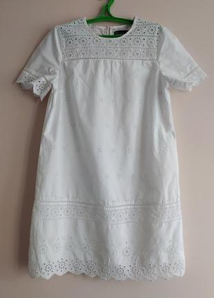 Белое платье из прошвы marks & spenser
