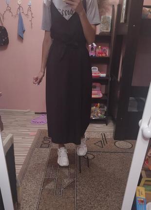 Платье черное сарафан миди с разрезом с футболкой с-л