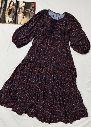 Marks & spencer чудесное ярусное вискозное платье р.м