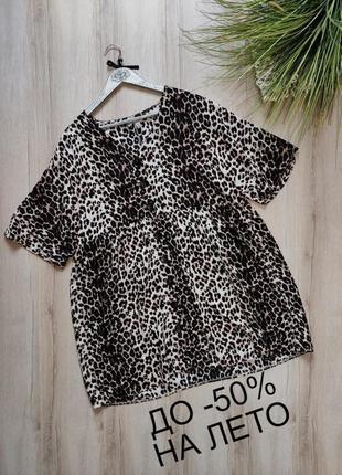 Свободное ярусное леопардовое вискозное платье asos p m-l