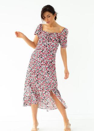 Цветочное платье миди с завязкой