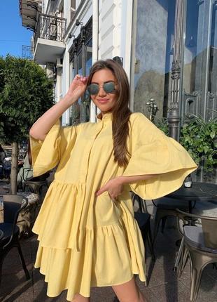 Крутейшее платье оверсайз с объёмными рукавами из льна