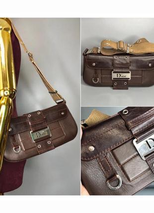 Dior columbus street chic кожаная винтажная сумка багет седло на плечо