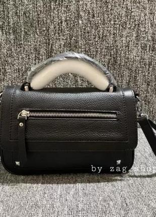 Женская маленькая кожаная сумочка черная🖤с короткой длинной ручкой на плечо жіноча сумка через плече