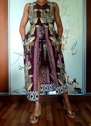 Красивейшее платье винного цвета с принтом в стиле бохо