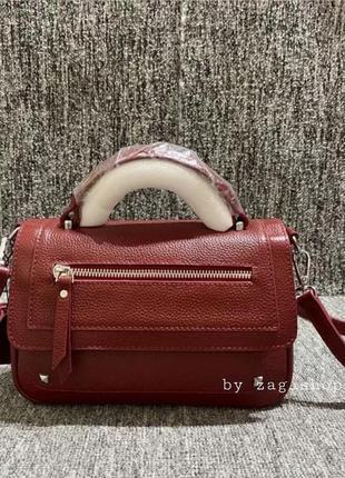 Женская маленькая кожаная сумочка красная❤с короткой длинной ручкой на плечо жіноча сумка