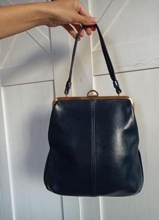 Синяя винтажная сумка из кожи