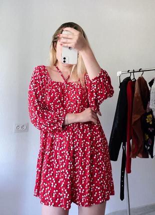 Красный сарафан в цветочный принт/ платье