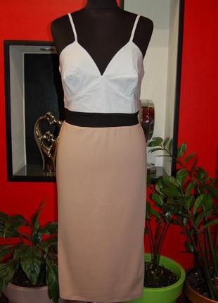 Платье миди по фигуре бретели сарафан бюстье трикотажный лиф декольте