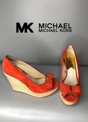 Michael kors эскадрильи на платформе босоножки кожаные красные замшевые с бантом owens