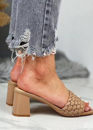 Мюли шлепанцы плетенка 🌿 коса квадратный носок на каблуке устойчивом шпилька шлепки сандалии