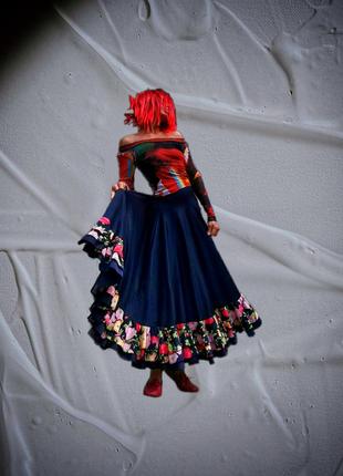 Юбка на резинке в принт цветы розы длинная макси цыганская танцевальная фламенко