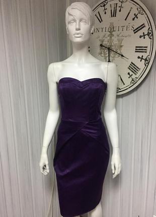 Нарядное брендовое платье tell темно фиолетовое  с открытой спиной