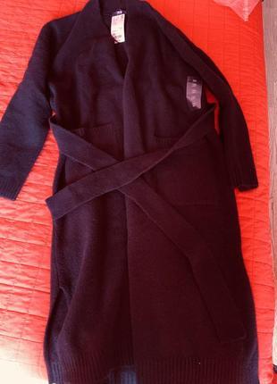 Черный длинный кардиган с поясом бренд uniqlo