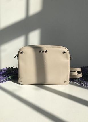 Сумка бежевая кремовая, кошелёк клатч натуральная кожа, genuine leather, италия vera pelle бежевая polina