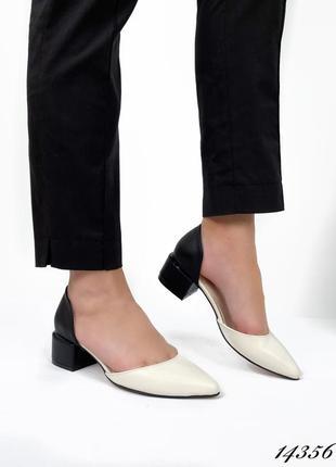 Женские туфли marissa 14356 бежевый + чёрный кожа