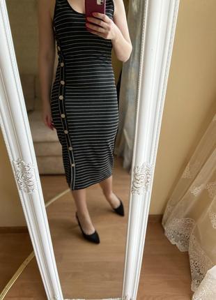 Платье сарафан облегающий чёрный в белую полоску