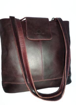 Кожаная  сумка -рюкзак ,натуральная мраморная  кожа rowallan