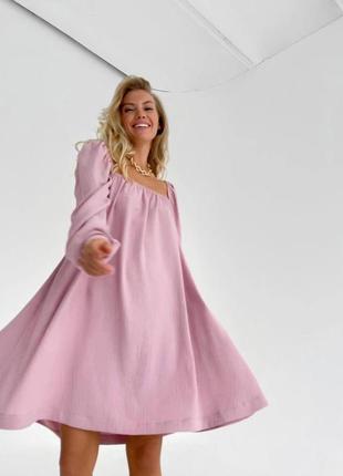 Платья -4 цвета, платье с квадратным вырезом, платье мини, нежное платье ( арт 100417)