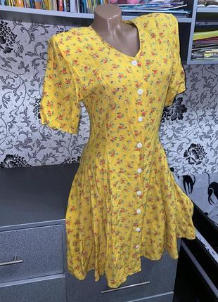 Трендовое платье халат в цветочный принт s-m