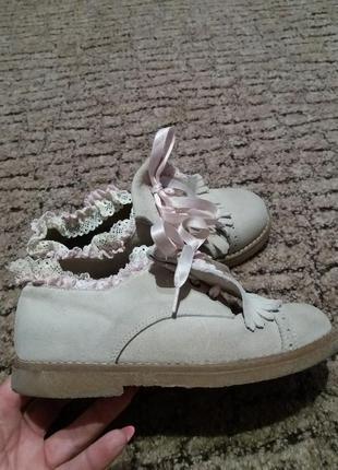 Натуральные замшевые туфли ботинки
