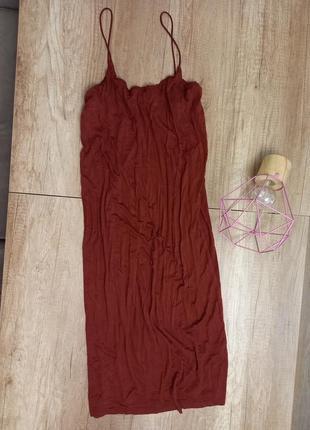 Плаття платье сукня h&m basic миди міді на бретелях
