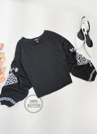 Блузка з вишивкою на рукавах new look розмір s-m