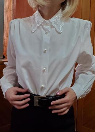 Винтажная блуза с красивым воротником винтаж ретро