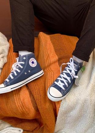 Кеды высокие converse синие2 фото
