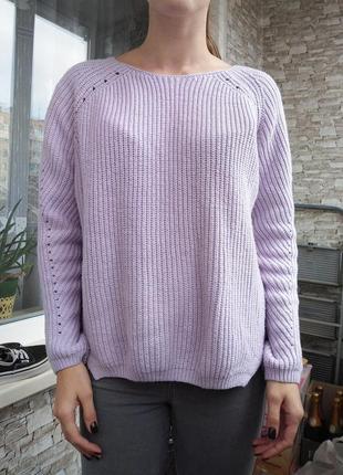 Теплый лиловый шерстяной свитер кофта