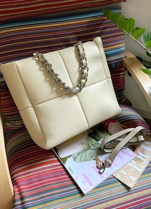 Женская бежевая молочная мягкая большая кожаная шкіряна сумка, италия
