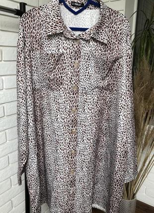 Леопардовое платье -рубашка ,размер -xxl