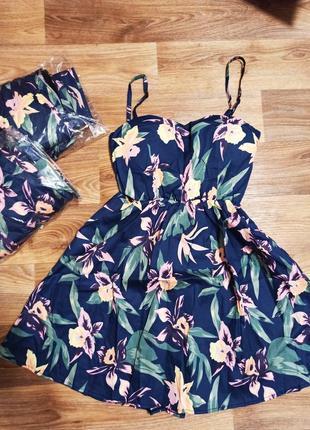 Хлопковое платье/ коттоновый сарафан в цветы/ цветочный принт/ с паралоновыми чашками / чашечками/ вставками