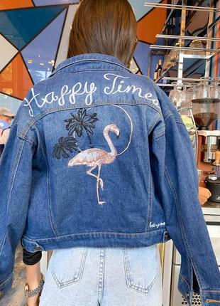 Джинсовка с вышивкой , голубая джинсовка , фламинго , джинсовая куртка