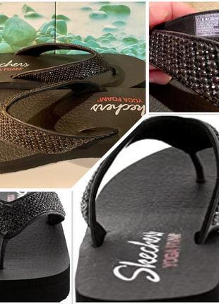 Skechers удобнейшие красивые шлёпанцы босоножки вьетнамки