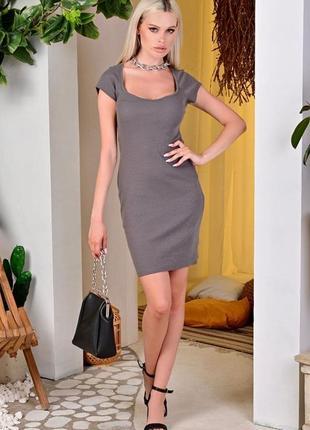 Платье - футболка трикотаж в рубчик розовое/ серое/чёрное/ красивое декольте