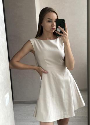 Бежевое светлое мини платье french connection