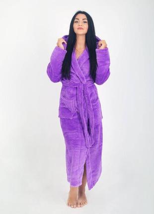 Длинный махровый фиолетовый халат на запах