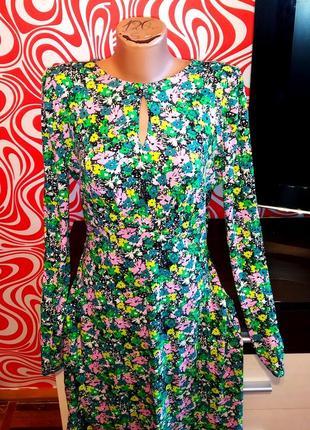 Яркое нарядное платье в цветы, трапеция, вискоза, стильное