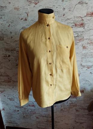 Винтажная шелковая рубашка блуза, чесуча