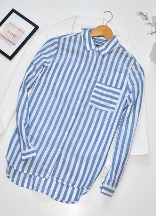 Marks&spencer потрясающая рубашка в модную полоску,из натуральной ткани