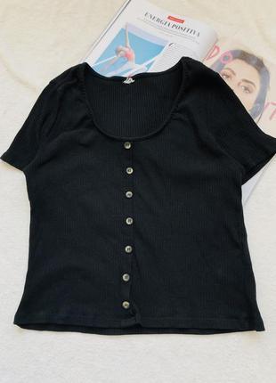 Чёрная хлопковая футболка с пуговицами  h&m