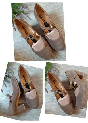 Туфли натуральный замш натуральная кожа устойчивый каблук clarks